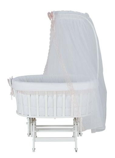 Babycom Lake Beyaz Sepet Beşik + Gri Zikzak Uyku Seti Pudra